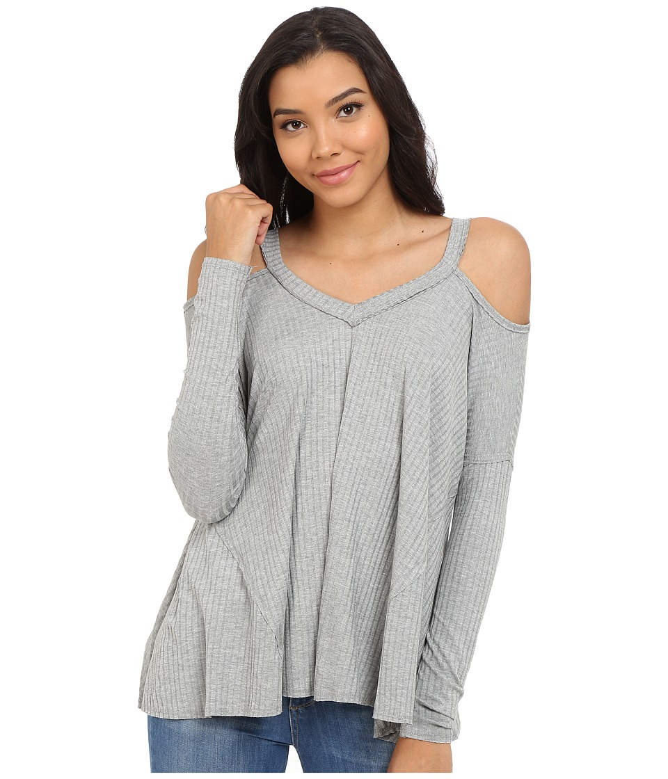 Culture Phit Constance Cold Shoulder Ribbed Top Grey Womens Clothing