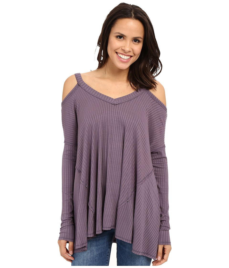 Culture Phit Constance Cold Shoulder Ribbed Top Plum Womens Clothing