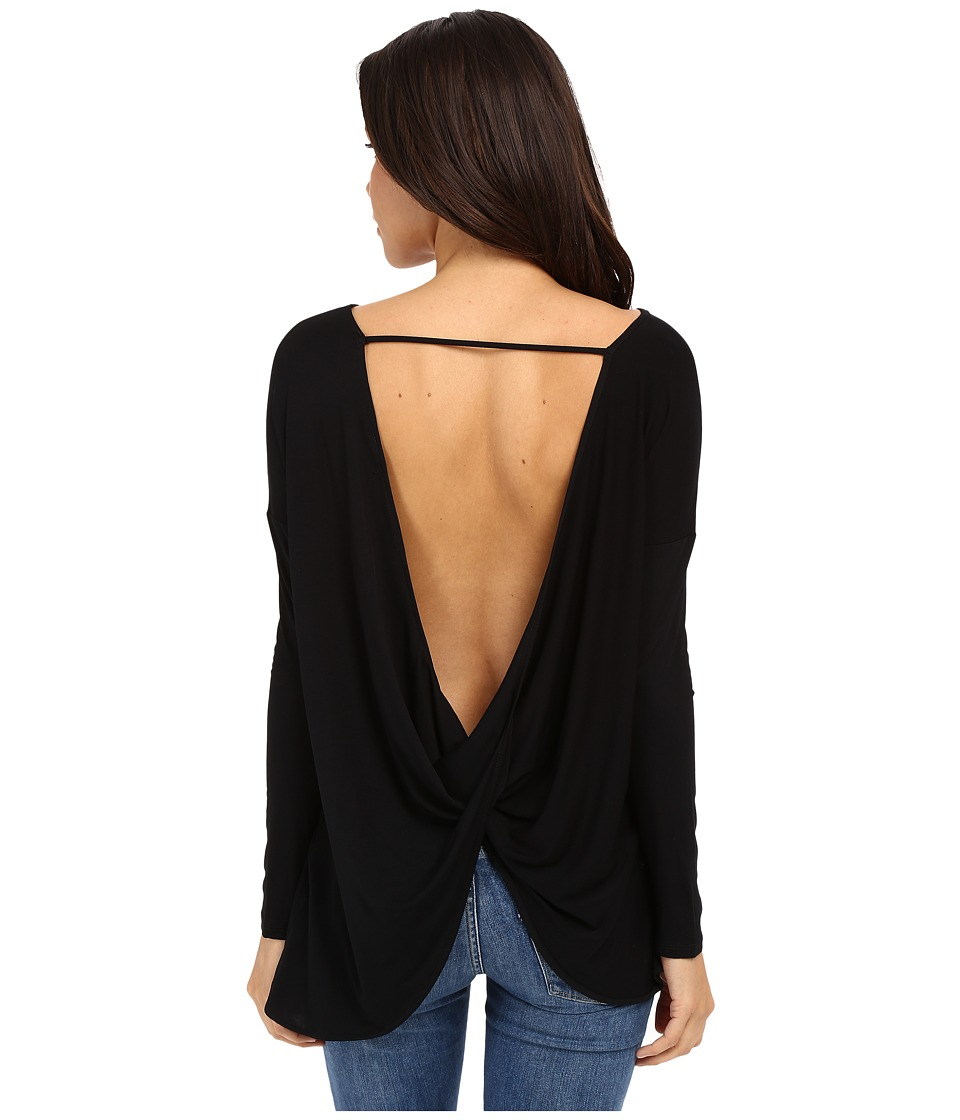 Culture Phit Brinley Long Sleeve Top with Open Back Black Womens Clothing
