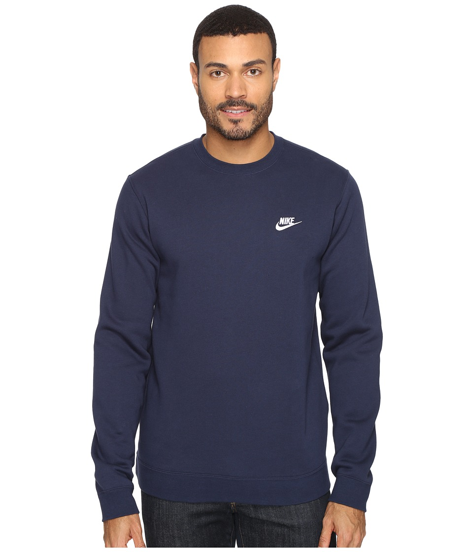 Nike Club Fleece Pullover Crew (Obsidian/White) Men