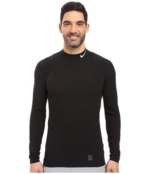 Nike Pro Warm Mock Long Sleeve Training Top - Black/Dark Grey/White