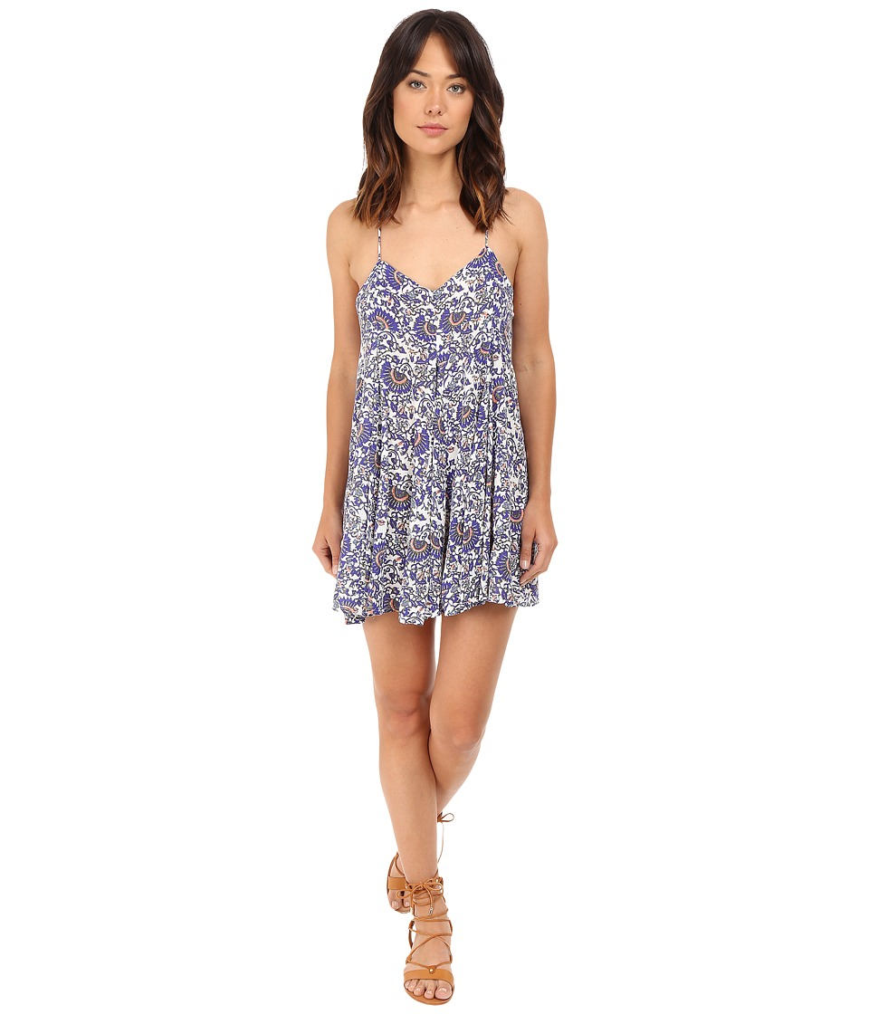 Brigitte Bailey Dajana Strappy Printed Dress Blue Print Womens Dress