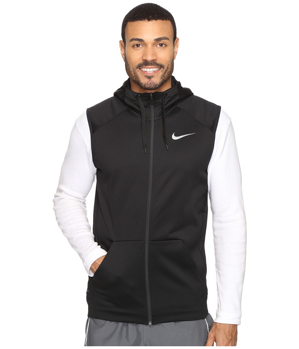 Nike Therma Hoodie Sleeveless Full Zip Swoosh (Black/White) Men