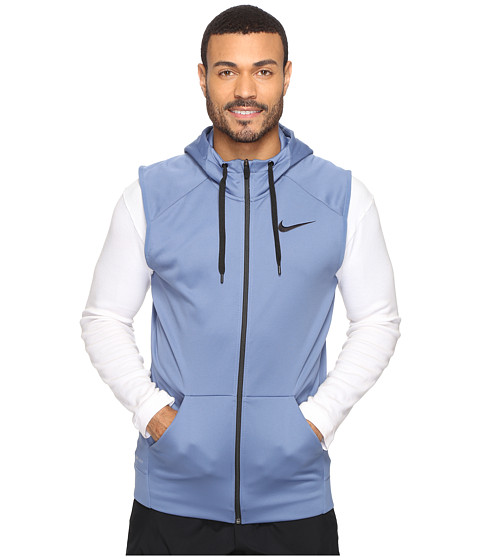 Nike Therma Hoodie Sleeveless Full Zip Swoosh - Ocean Fog/Black