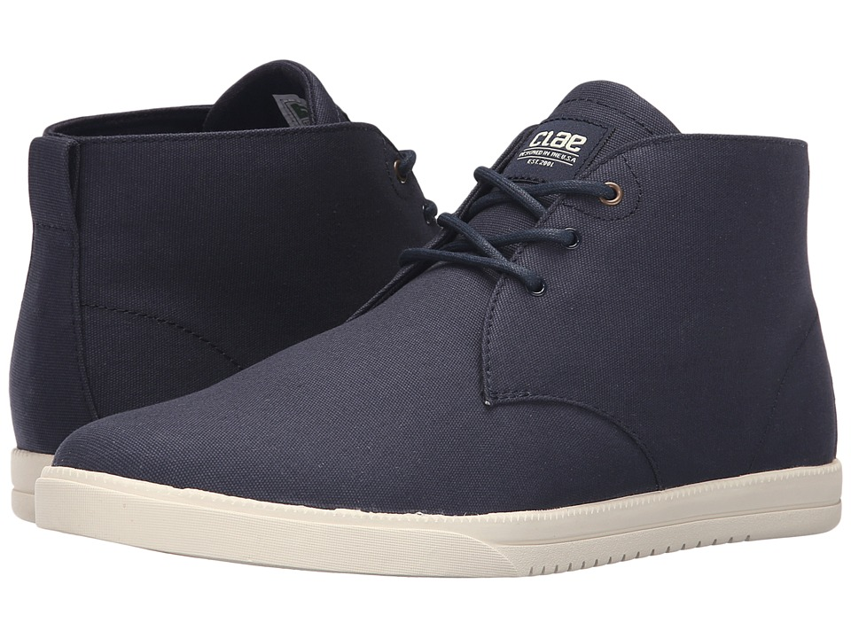 Clae Strayhorn Textile Navy Canvas Mens Lace up casual Shoes