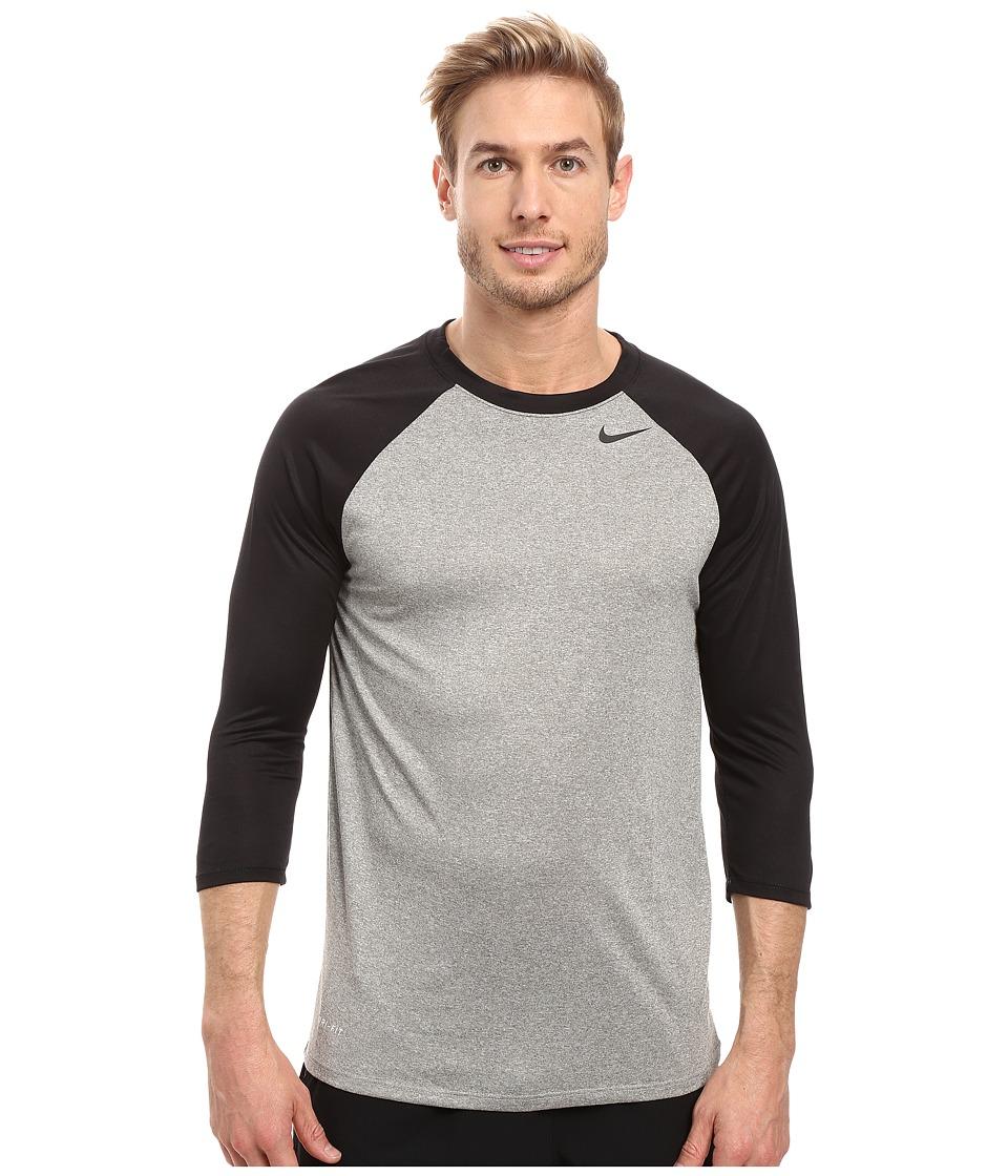 Nike Legend 3/4 Raglan Tee (Dark Grey Heather/Black/Black) Men