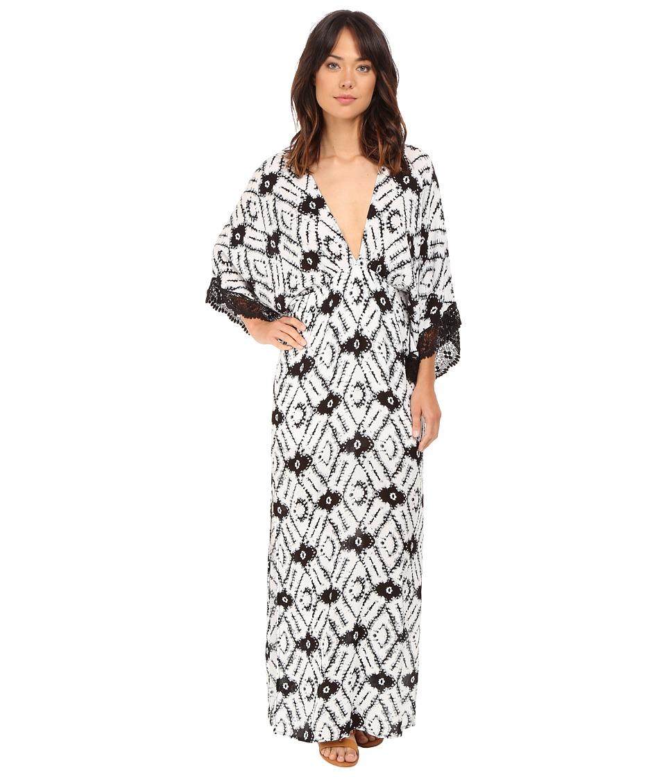 Brigitte Bailey Pippa Deep V Neck Maxi Dress with Crochet Trim Black/Ivory Womens Dress