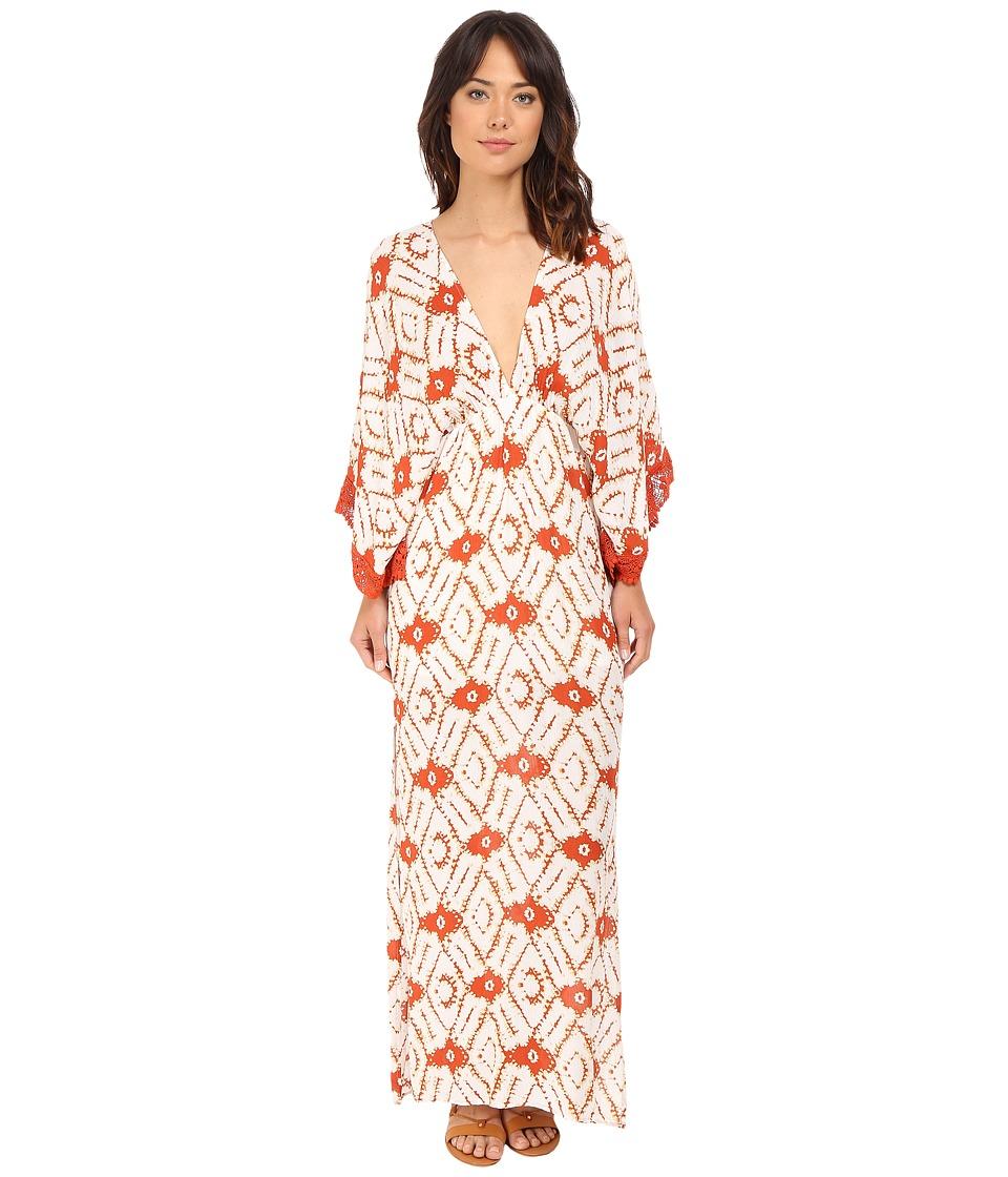 Brigitte Bailey Pippa Deep V Neck Maxi Dress with Crochet Trim Rust/Ivory Womens Dress