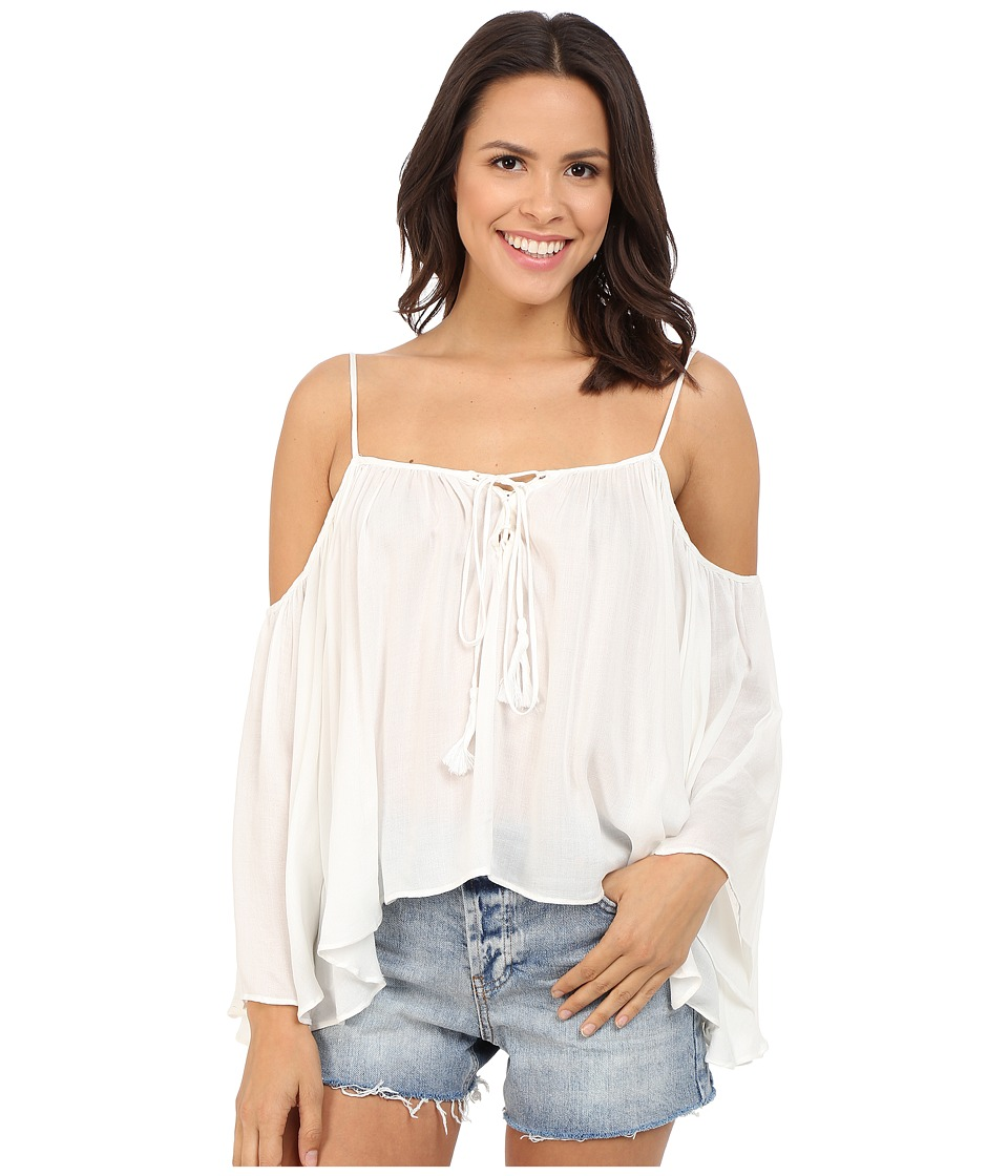 Brigitte Bailey Cressida Cold Shoulder Top with Tassels White Womens Clothing