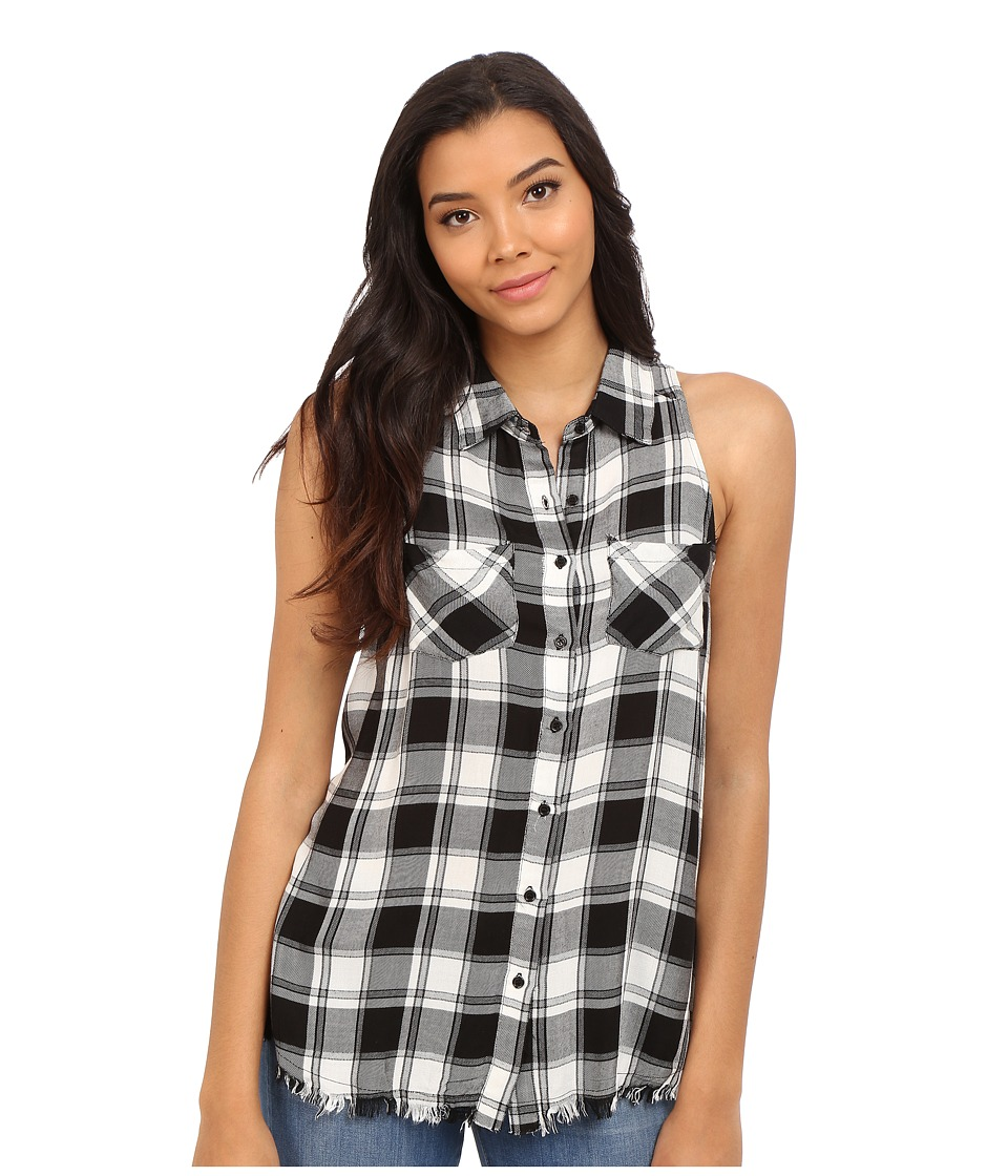 Brigitte Bailey Brilynn Button Up Plaid Top with Pockets Black/White Womens Clothing