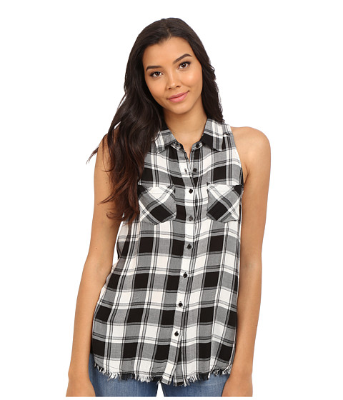 Brigitte Bailey Brilynn Button Up Plaid Top with Pockets