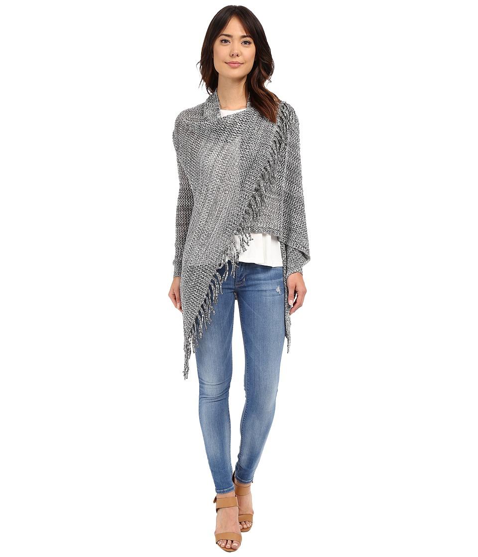 Christin Michaels Arabell Long Sleeve Asymmetrical Fringe Cardigan Grey Womens Sweater