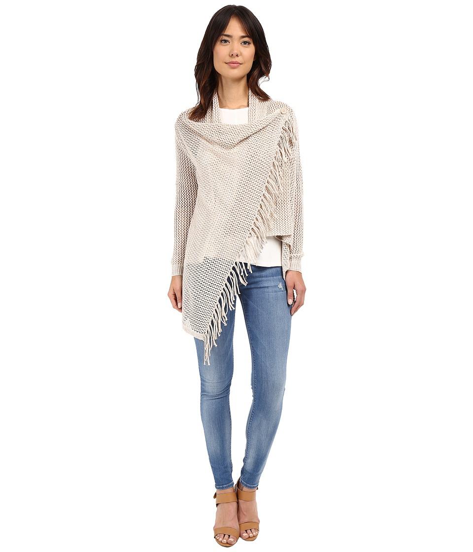 Christin Michaels Arabell Long Sleeve Asymmetrical Fringe Cardigan Beige Womens Sweater