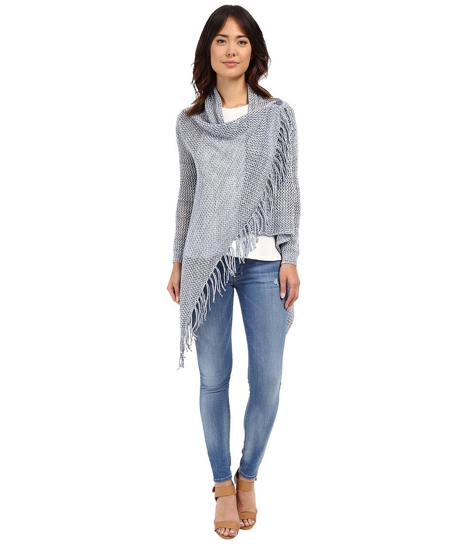 Christin Michaels Arabell Long Sleeve Asymmetrical Fringe Cardigan Light Blue Womens Sweater