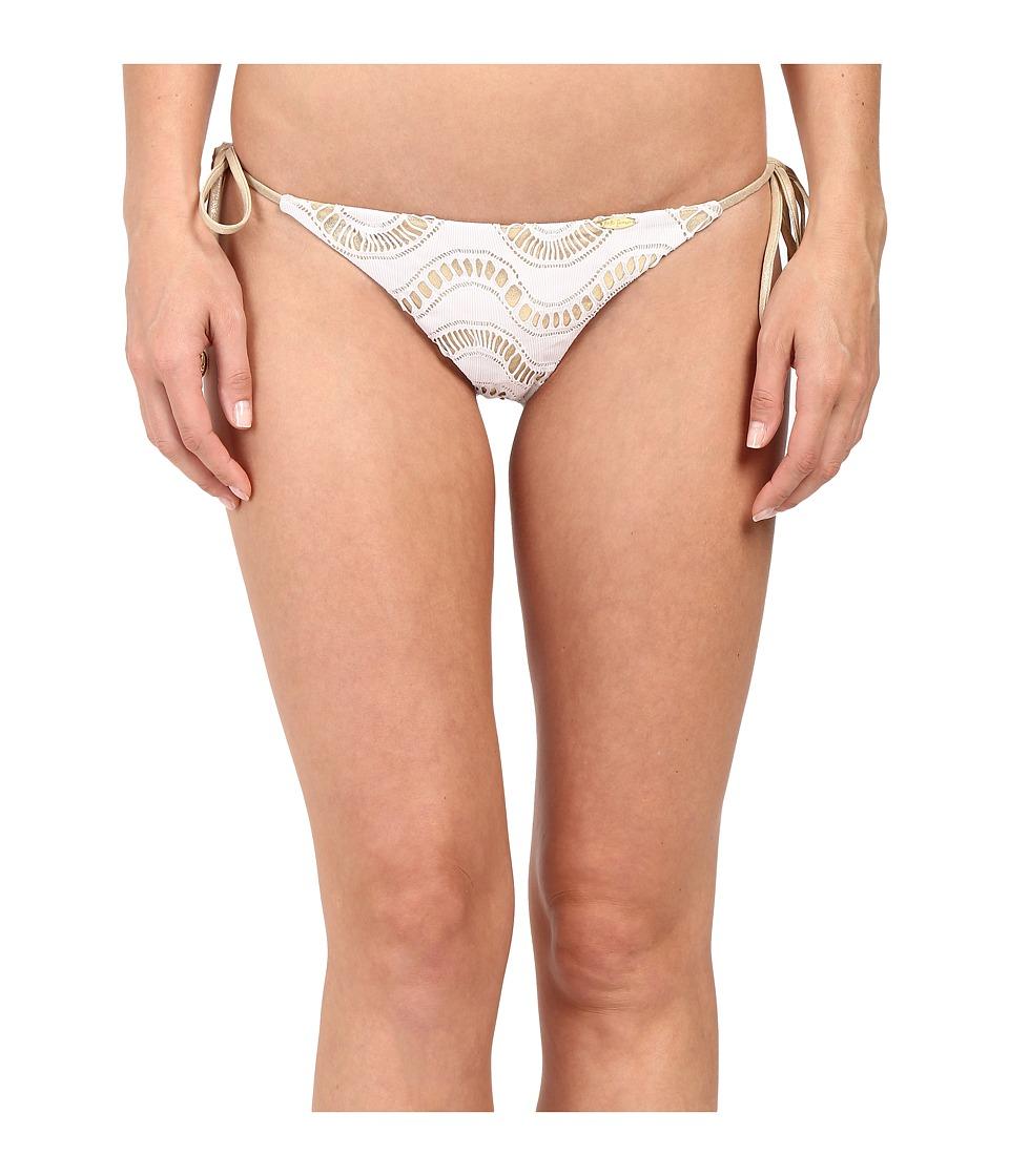 Luli Fama Buena Onda Brazilian Ruched Back Tie Side Bottom White Womens Swimwear