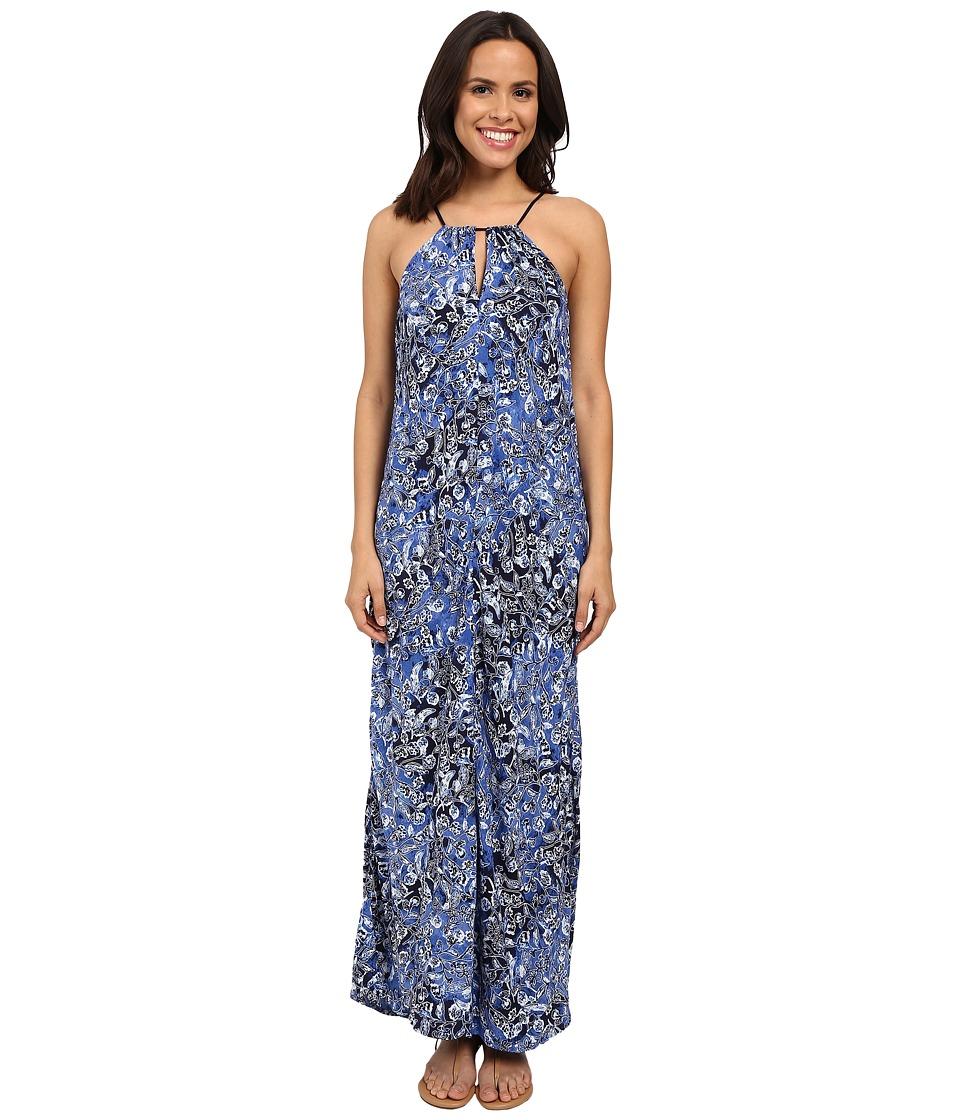 Lucky Brand Indigo Floral Maxi Dress (Blue Multi) Women