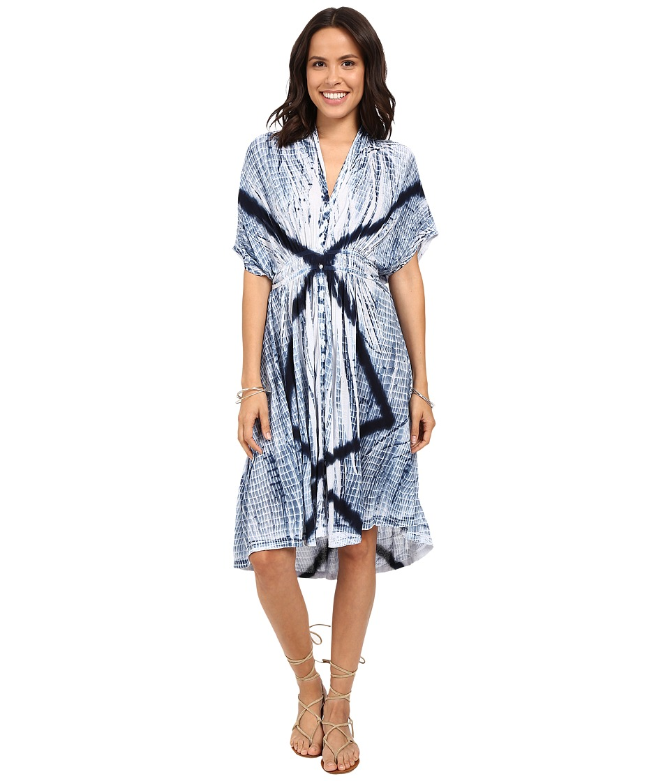 Lucky Brand Tie Dye Audrey Dress Blue Multi Womens Dress