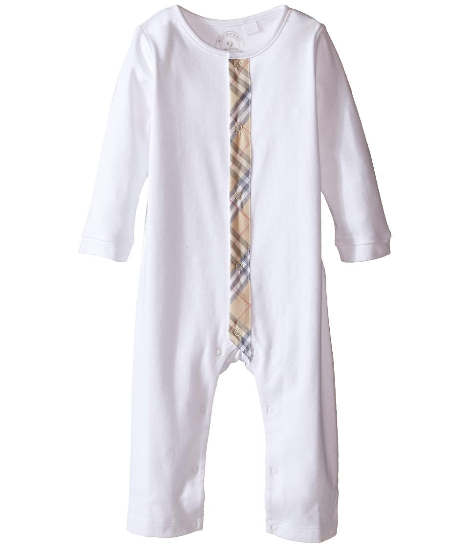 Burberry Kids - One-Piece with Check Detail Placket (Infant) (White) Kids Jumpsuit & Rompers One Piece