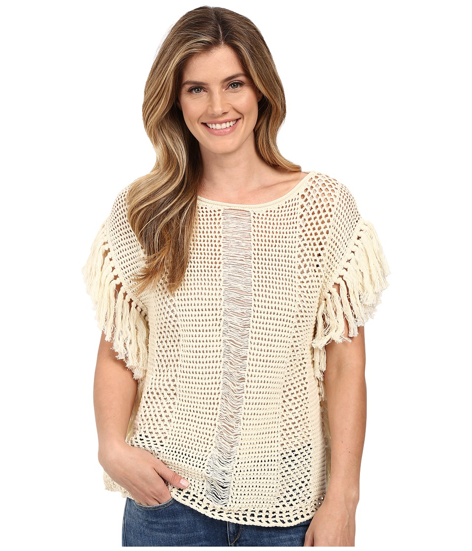 Lucky Brand Nomad Fringe Sweater Natural Womens Sweater