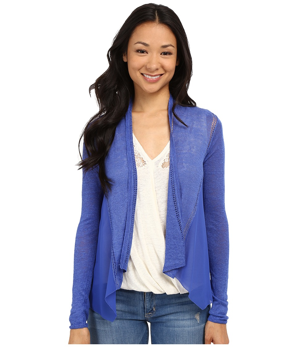 Lucky Brand Woven Mixed Cardigan Dazzling Blue Womens Sweater