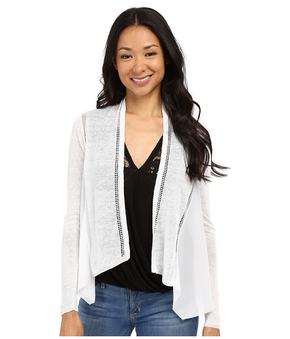 Lucky Brand Woven Mixed Cardigan Lucky White Womens Sweater