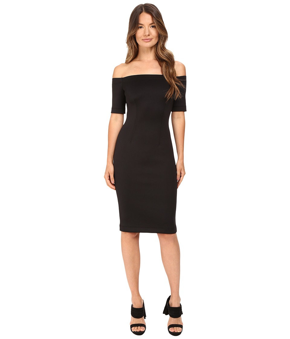 YIGAL AZROUEL Black Scuba Off the Shoulder Dress (Black) Women