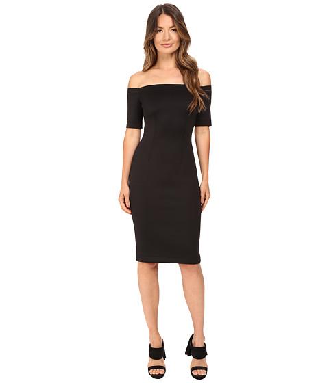 YIGAL AZROUËL Black Scuba Off the Shoulder Dress
