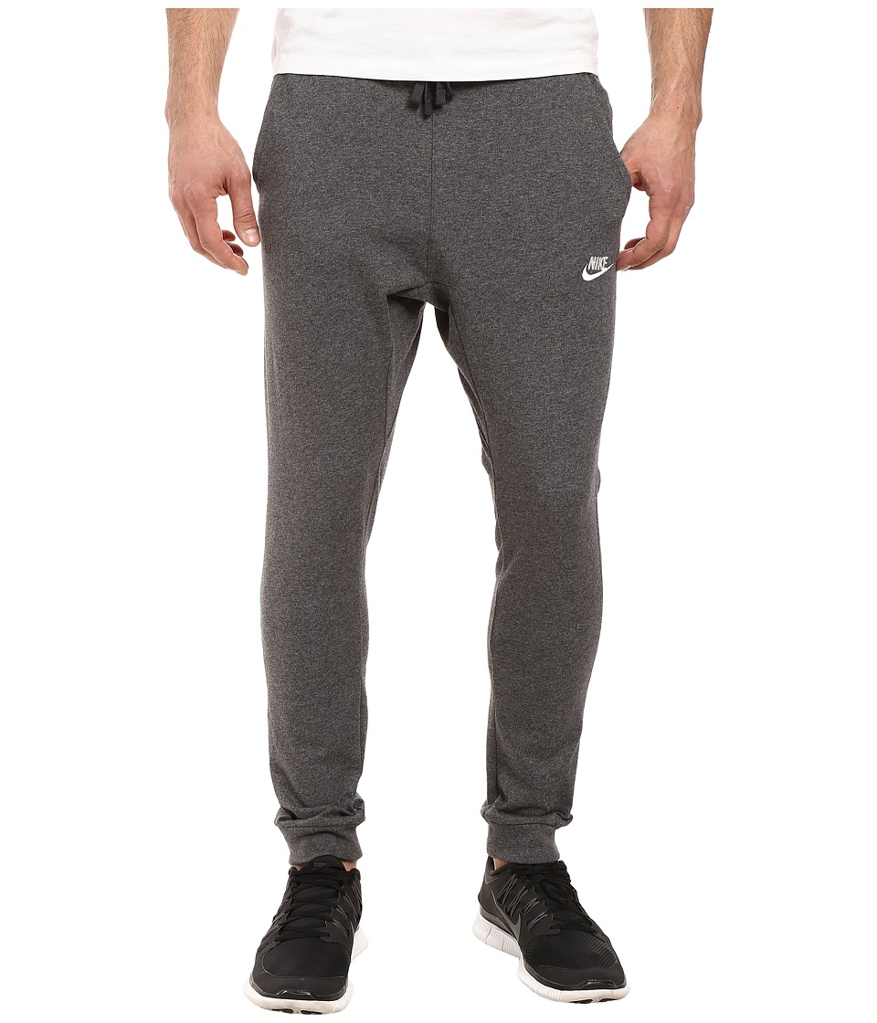 Nike Club Jersey Jogger Pant (Charcoal Heather/White) Men