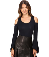 YIGAL AZROUËL - Matte Jersey Cold Shoulder Lace Trimmed Jersey Top