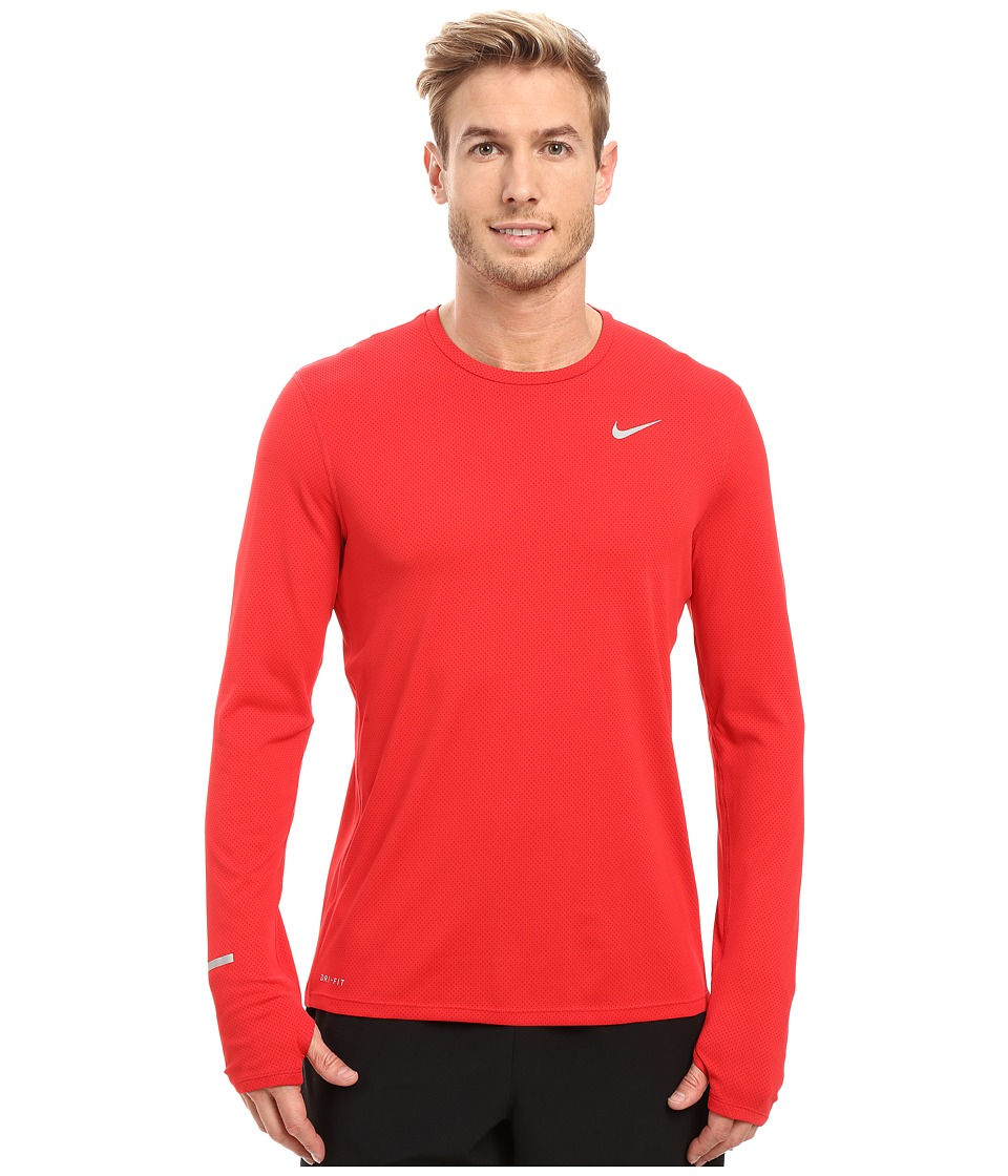 Nike Dri-FIT Contour L/S Running Shirt (University Red/Gym Red/Reflective Silver) Men