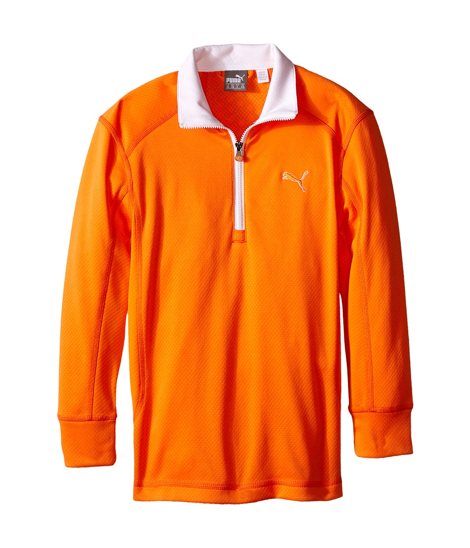 PUMA Golf Kids Golf L/S 1/4 Zip Top Big Kids Vibrant Orange Boys Long Sleeve Pullover