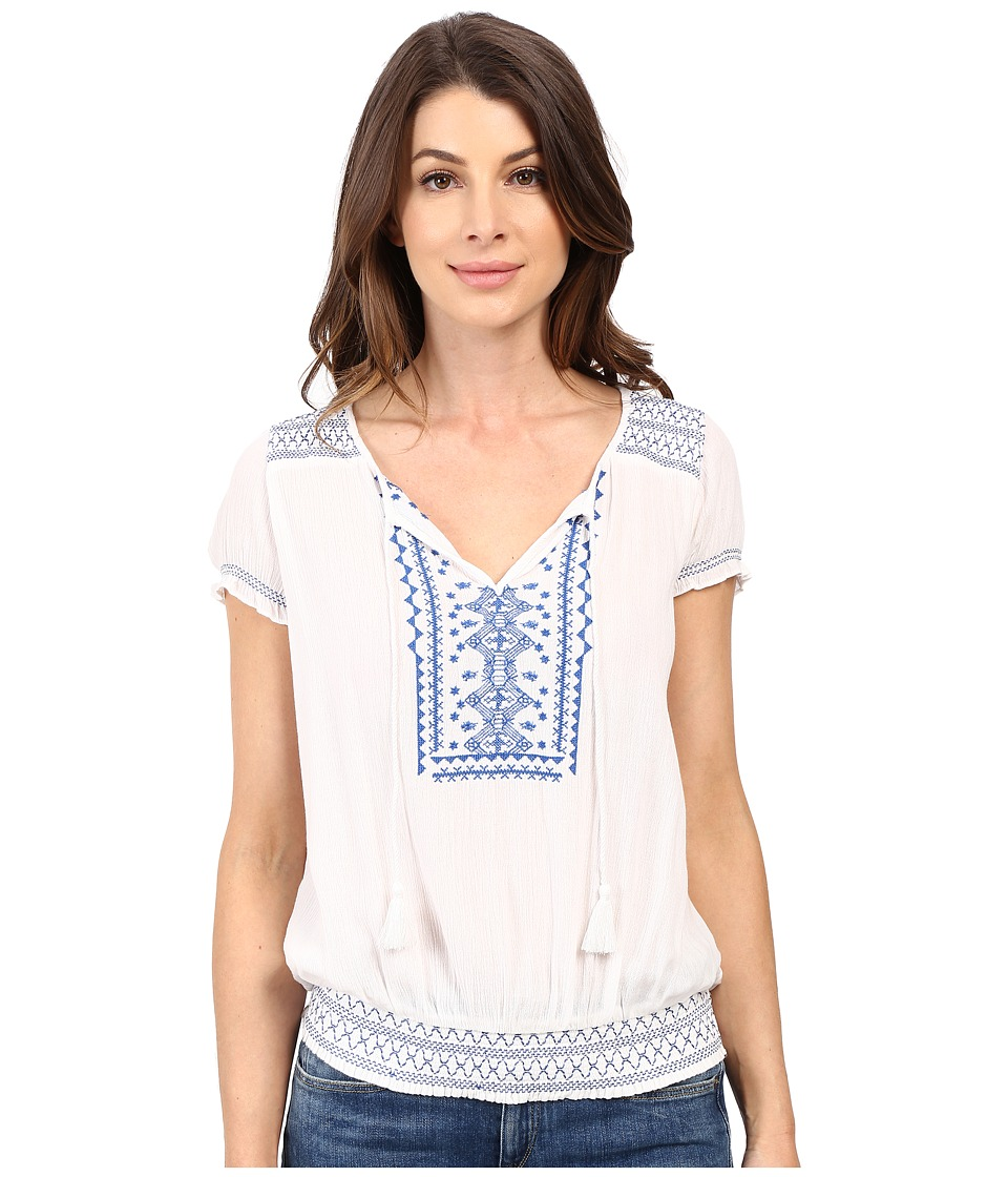Lucky Brand Embroidered Smock Top Lucky White Womens Blouse