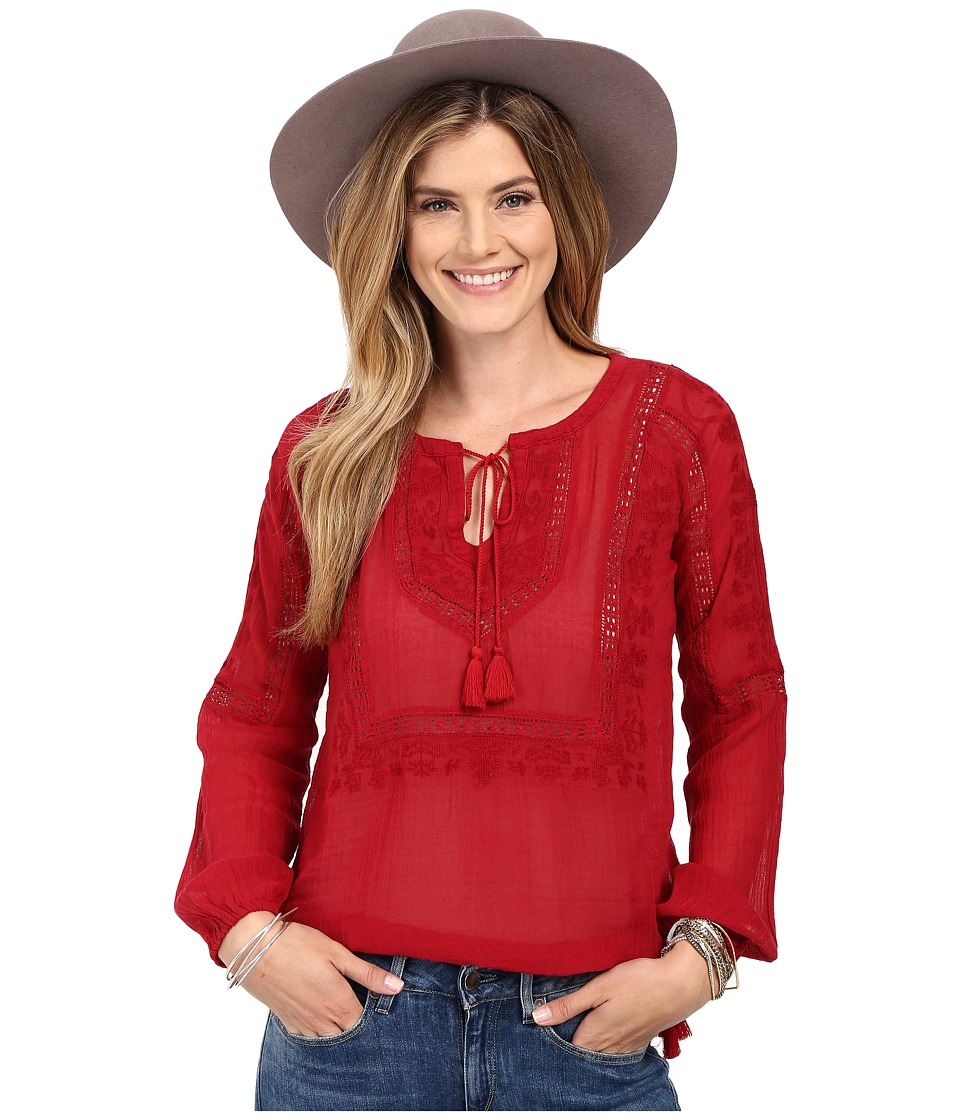 Lucky Brand - Lace Insert Top (Crimson Red) Women