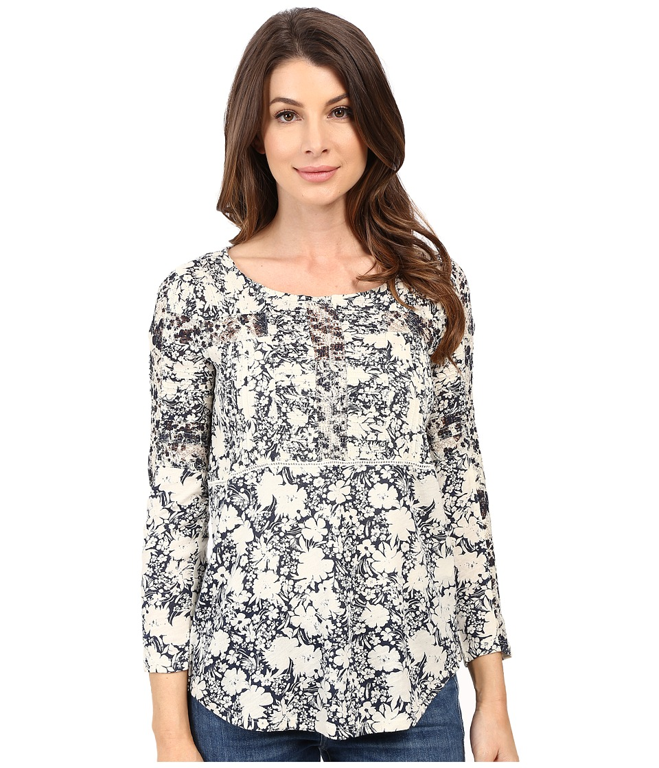 Lucky Brand Printed Mixed Trim Top Blue Multi Womens Clothing