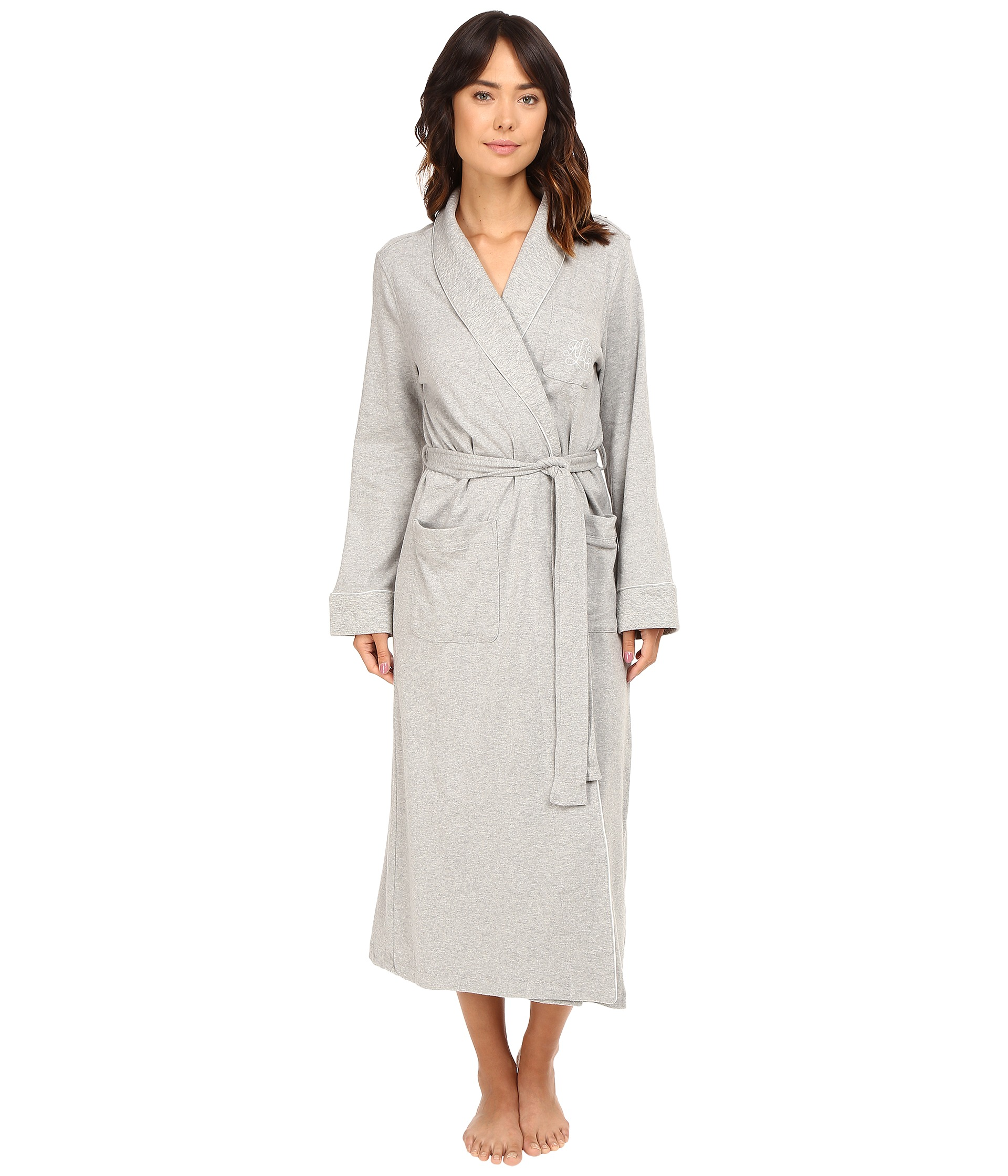 lauren ralph lauren quilted collar long robe heather grey free shipping both ways. Black Bedroom Furniture Sets. Home Design Ideas
