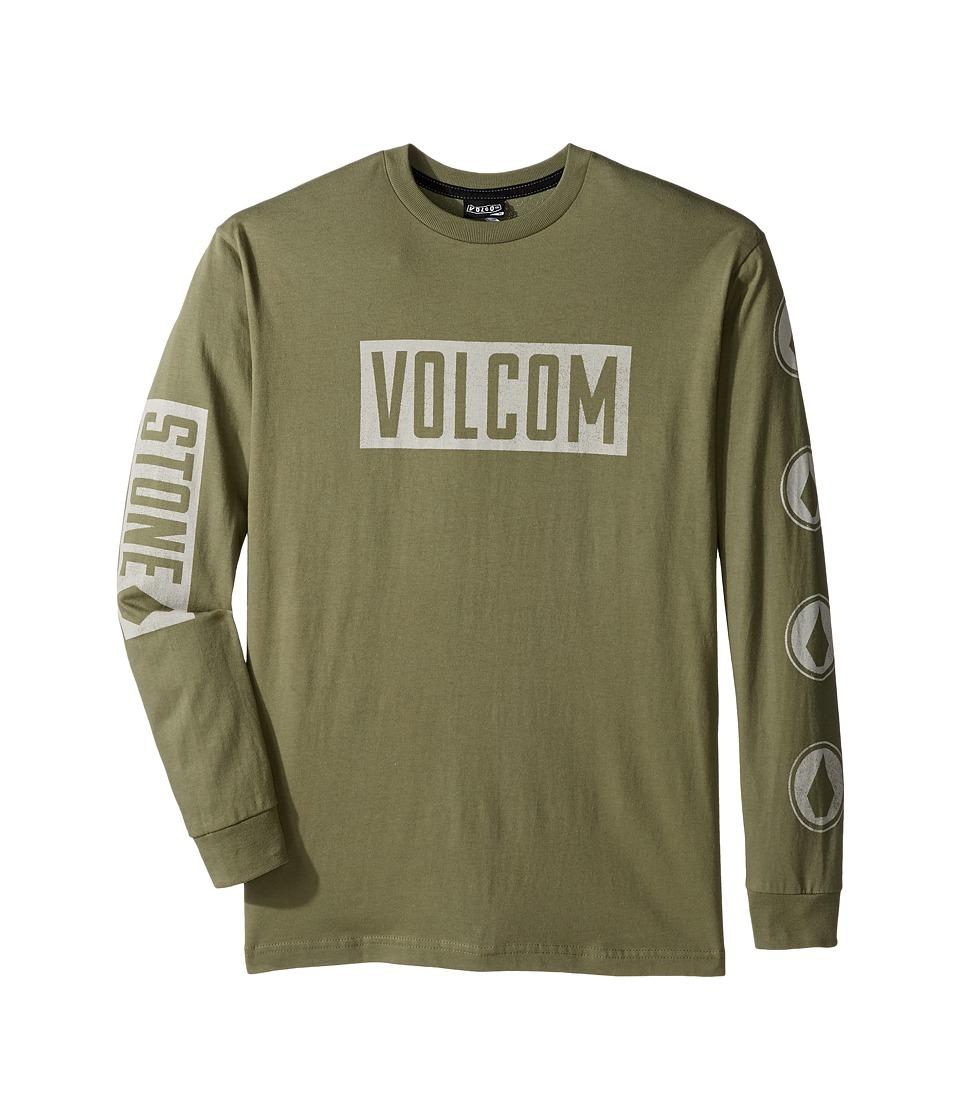 Volcom Kids - Knock Long Sleeve Tee (Big Kids) (Vineyard Green) Boy