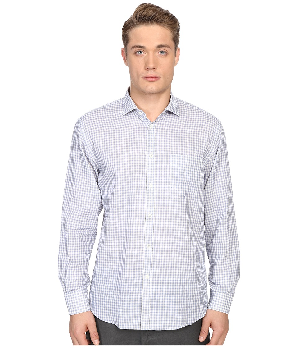 Billy Reid John T Shirt Button Up Blue Gingham Mens Long Sleeve Button Up