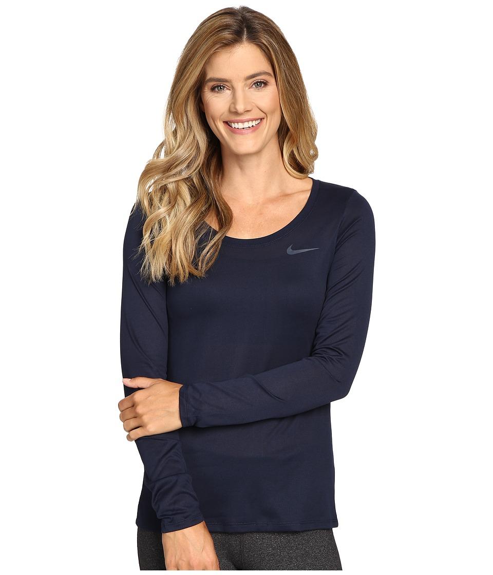 Nike Dry Long Sleeve Training Top (Obsidian/Obsidian) Women