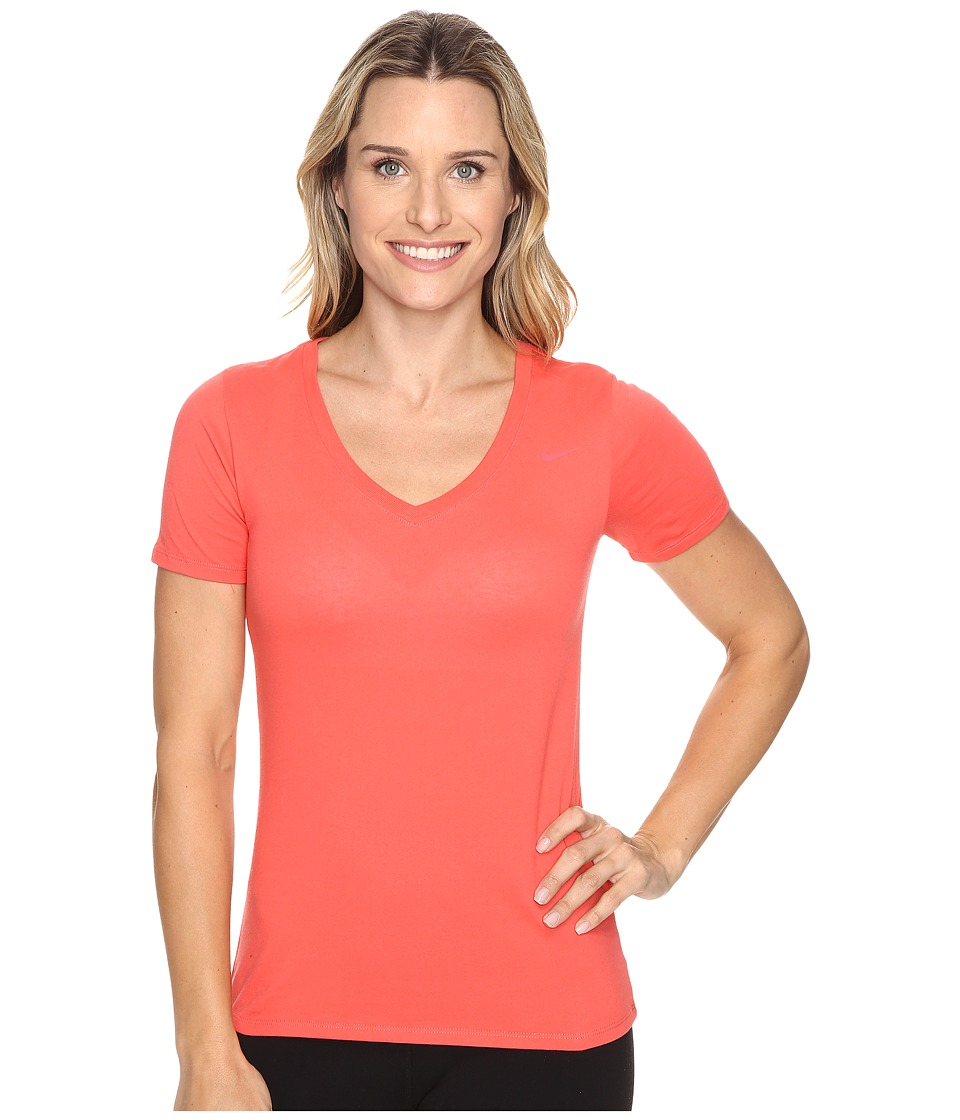 Nike Dri-FIT Cotton V-Neck Short Sleeve Tee (Ember Glow/Ember Glow) Women