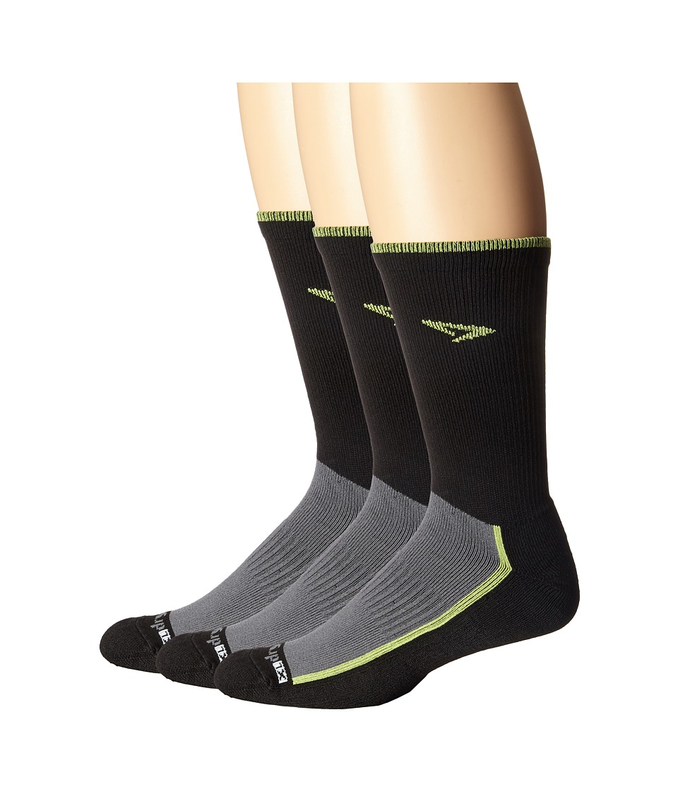 Drymax Sport Trail Running Crew 3 Pack Lime Green/Black Crew Cut Socks Shoes