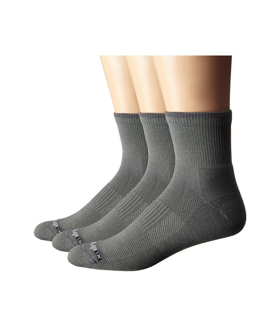 Drymax Sport Lite Hiking 1/4 Crew 3 Pack Green/Gray Crew Cut Socks Shoes
