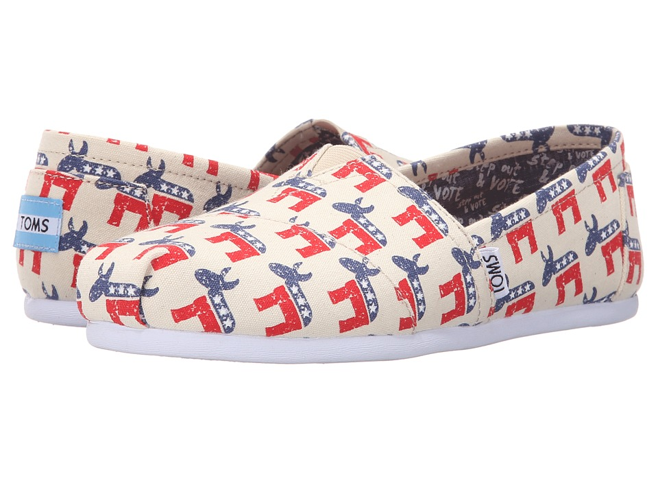 TOMS Classic Democrat Donkeys Natural Womens Slip on Shoes