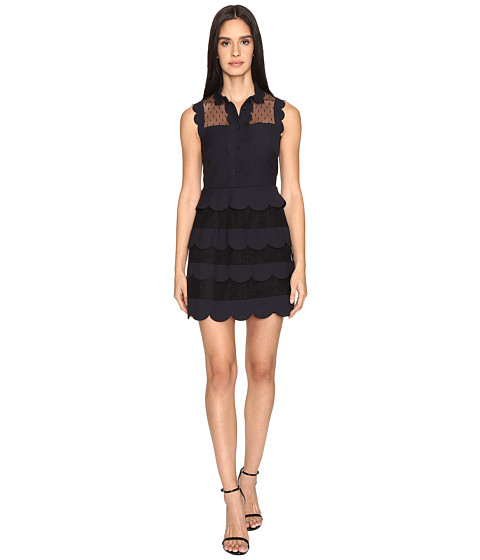 RED VALENTINO Cady Tech and Soft Point D'Esprit Dress