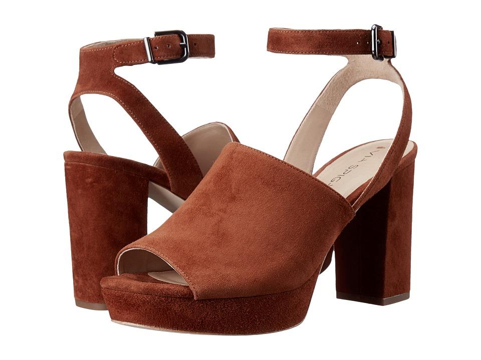 Via Spiga Julee Luggage Kid Suede Leather High Heels