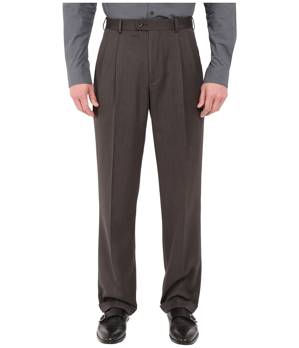 Perry Ellis Portfolio - Classic Fit Double Pleat Micro-Melange Pant (Castlerock) Mens Casual Pants