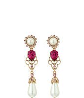 Oscar de la Renta - Crystal and Pearl Drop C Earrings