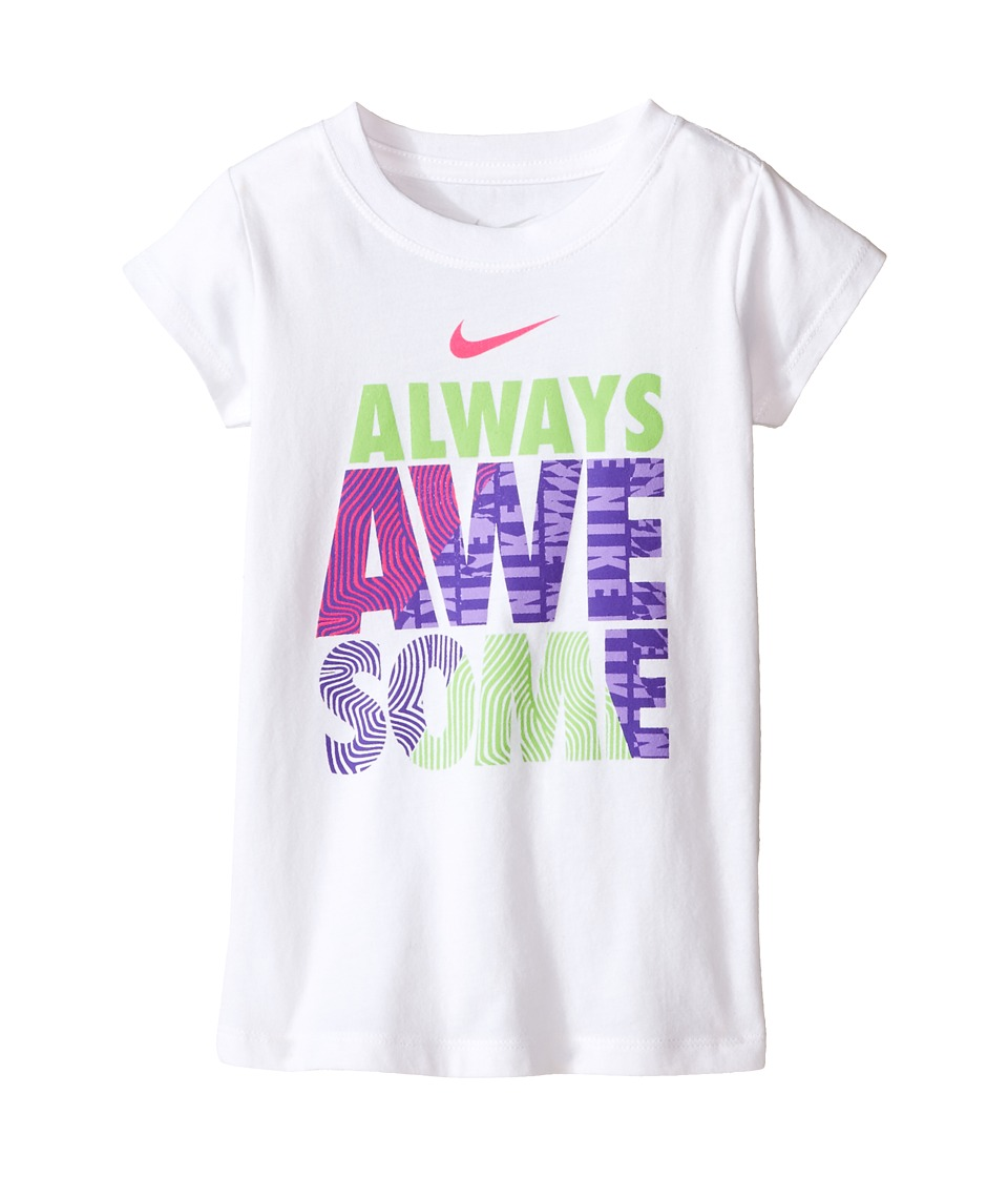 Nike Kids A895 Awesome Short Sleeve Tee Toddler White Girls T Shirt