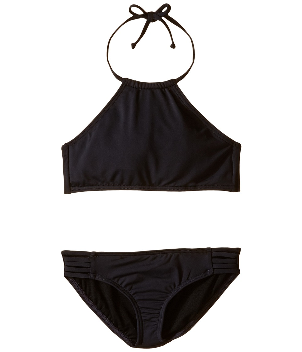 Billabong Kids - Sol Searcher High Neck Set (Little Kids/Big Kids) (Black Sands) Girls Swimwear Sets
