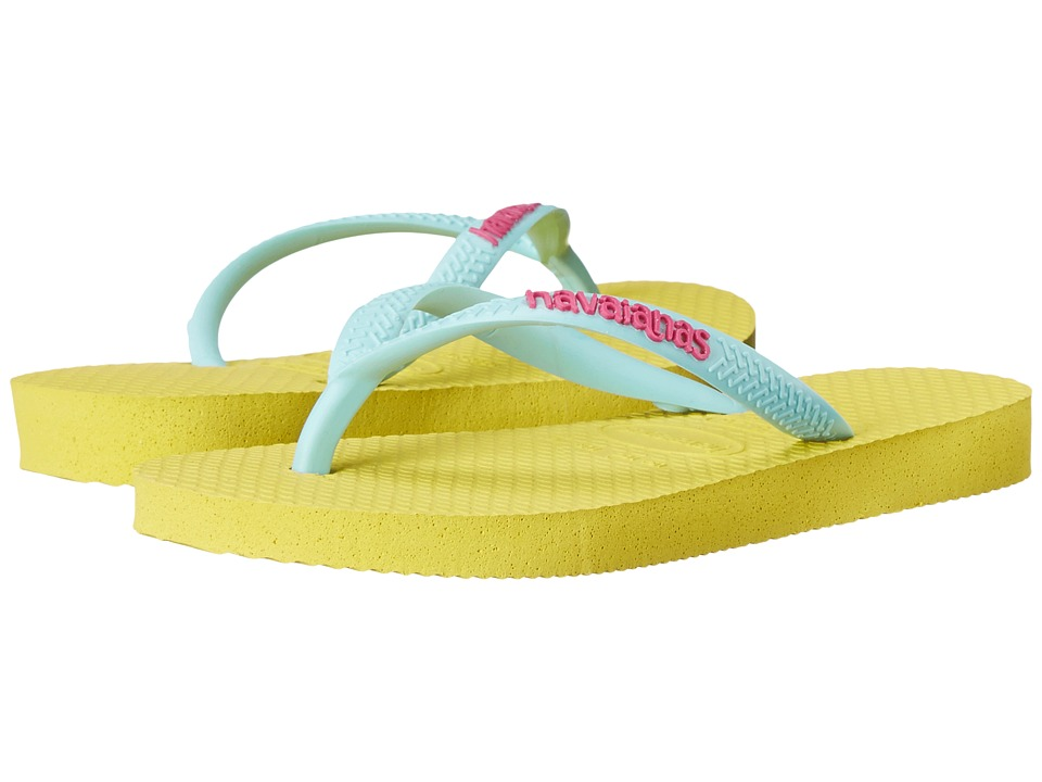Havaianas Kids Slim Logo Pop Up Flip Flop Toddler/Little Kid/Big Kid Revival Yellow Girls Shoes