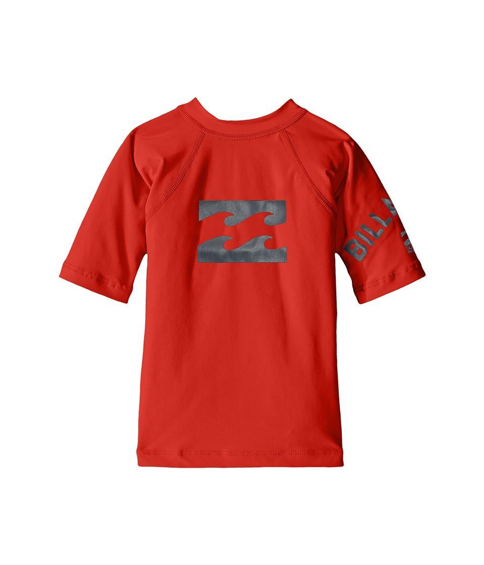 Billabong Kids Team Wave Short Sleeve Rashguard (Toddler/Little Kids/Big Kids) (Red) Boy